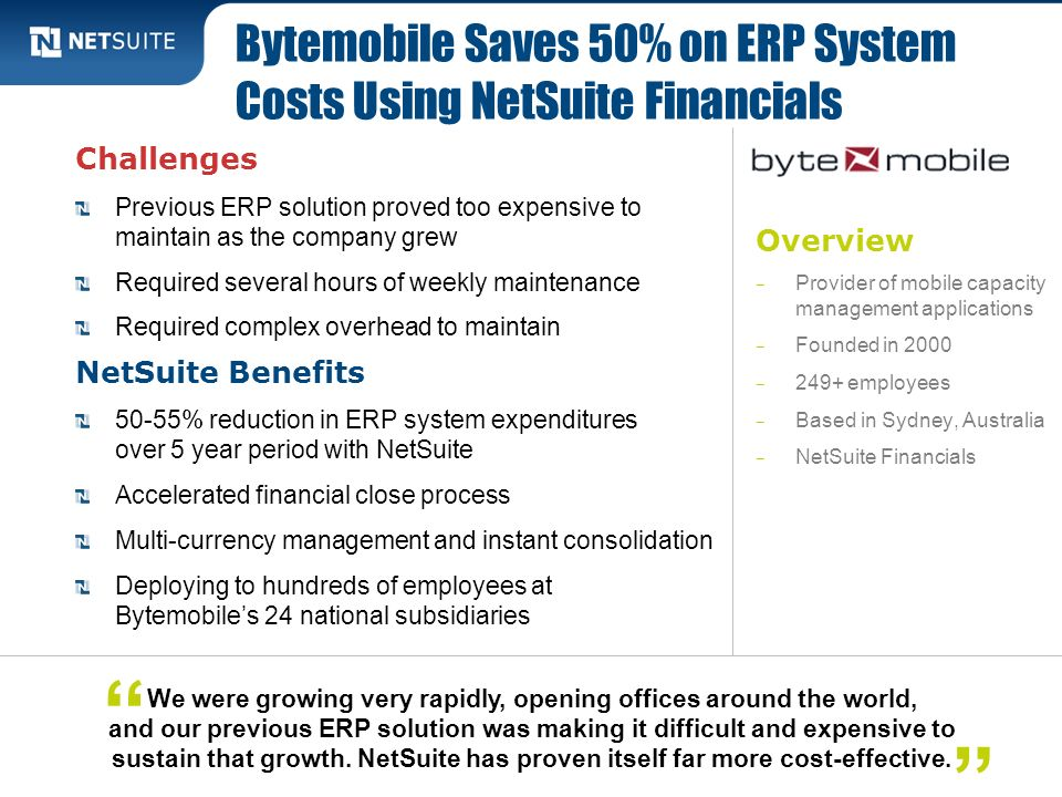 Bytemobile Saves 50% on ERP System Costs Using NetSuite Financials