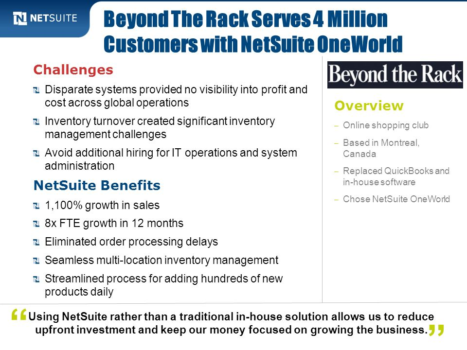 Beyond The Rack Serves 4 Million Customers with NetSuite OneWorld