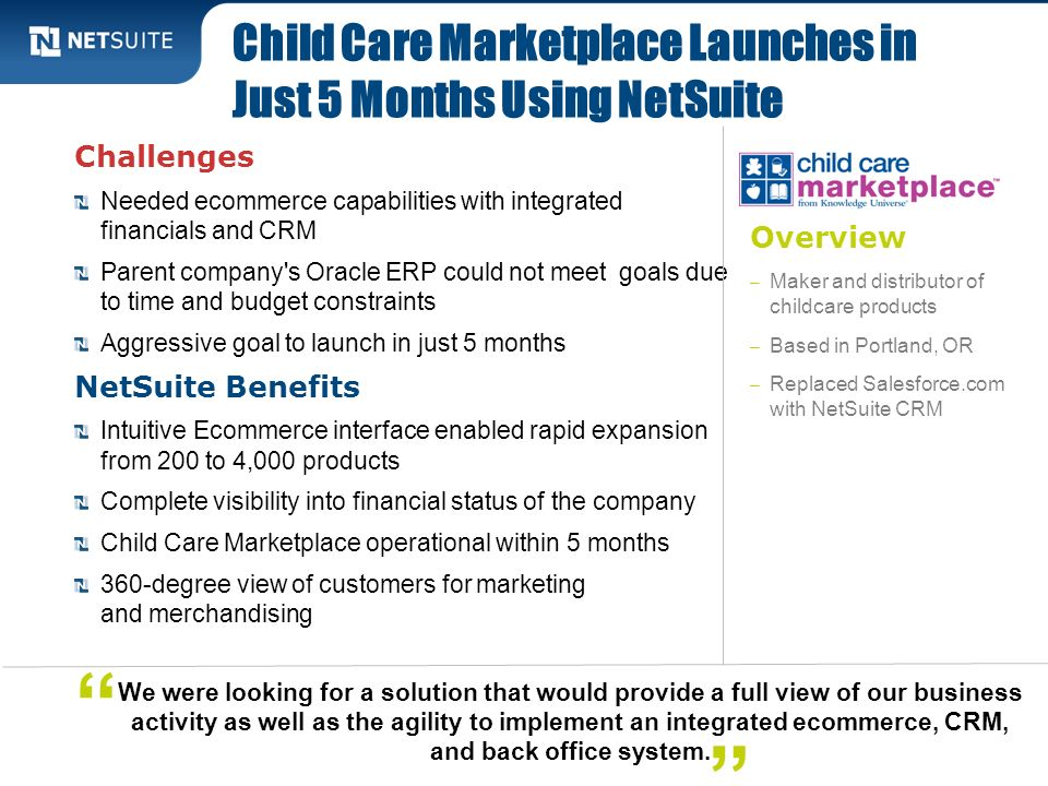 Child Care Marketplace Launches in Just 5 Months Using NetSuite