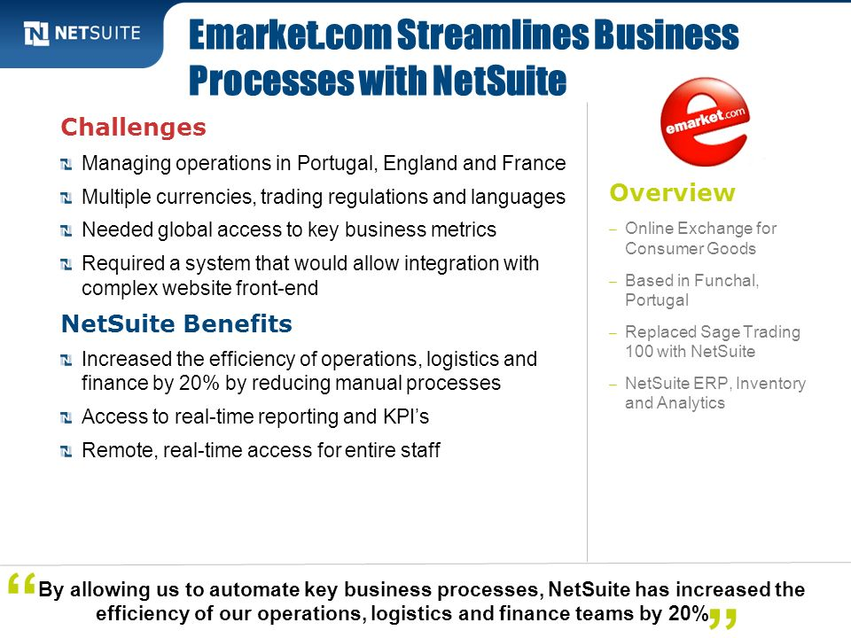 Emarket.com Streamlines Business Processes with NetSuite