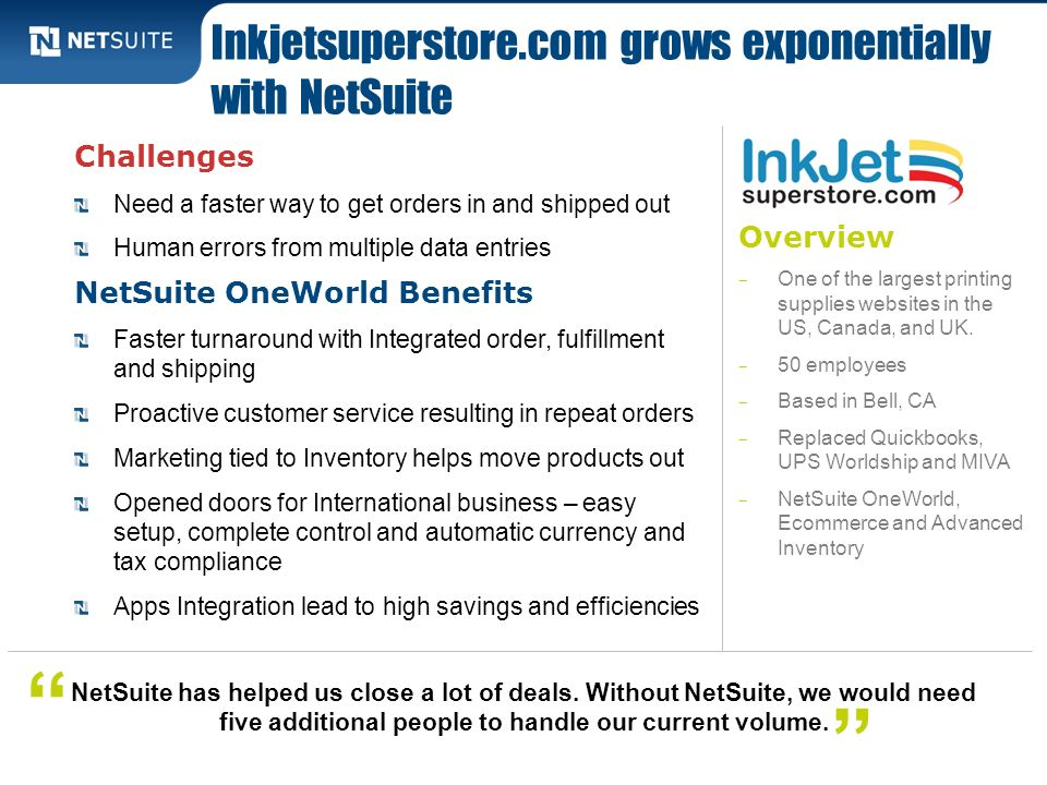 Inkjetsuperstore.com grows exponentially with NetSuite