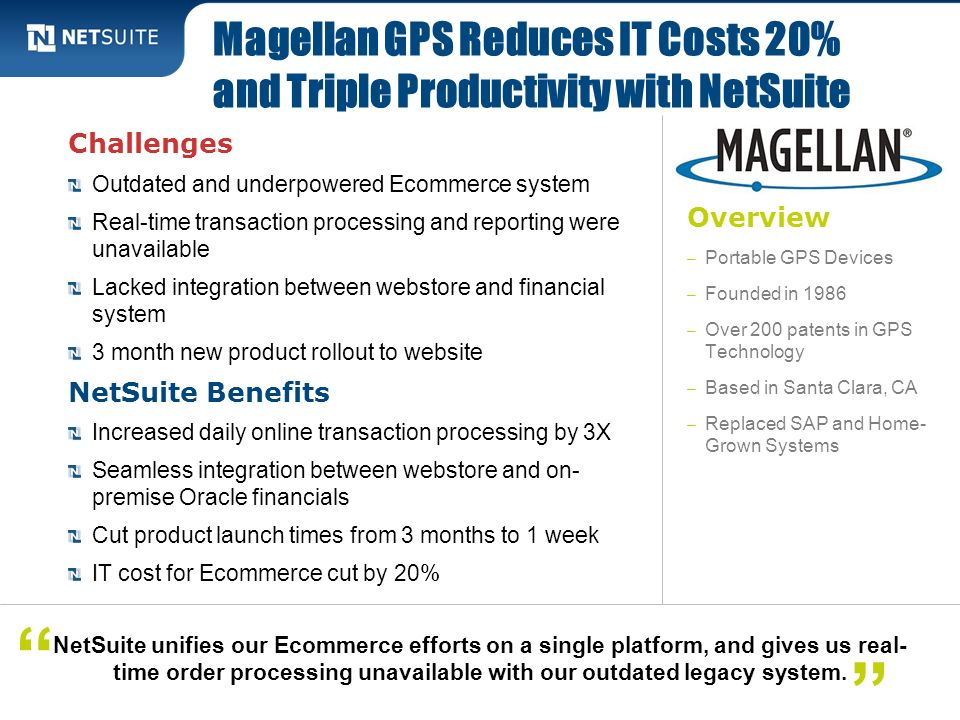 Magellan GPS Reduces IT Costs 20% and Triple Productivity with NetSuite