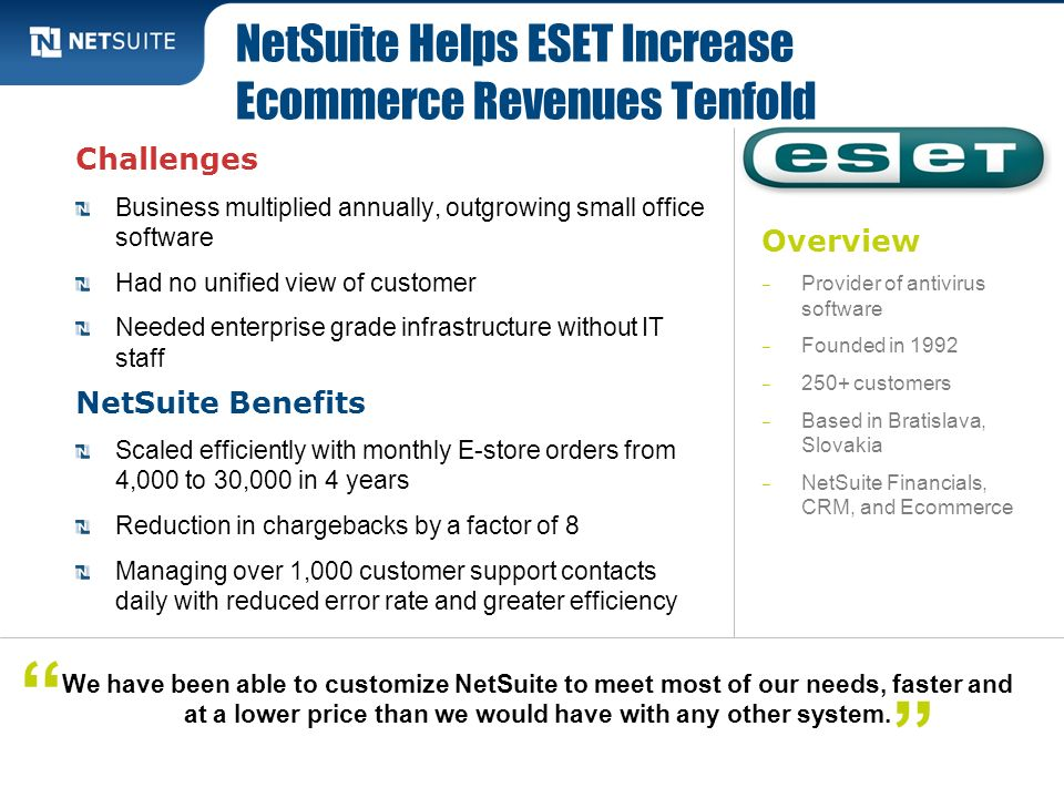 NetSuite Helps ESET Increase Ecommerce Revenues Tenfold