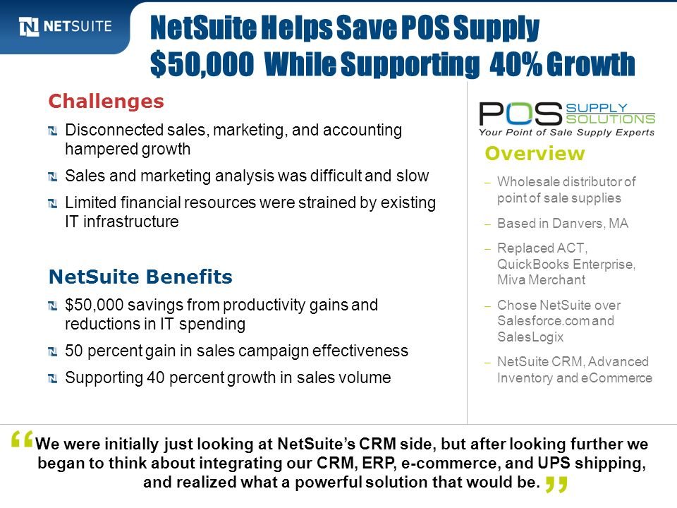 NetSuite Helps Save POS Supply $50,000 While Supporting 40% Growth