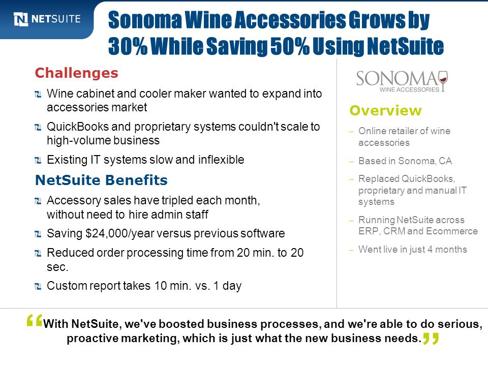 Sonoma Wine Accessories Grows by 30% While Saving 50% Using NetSuite