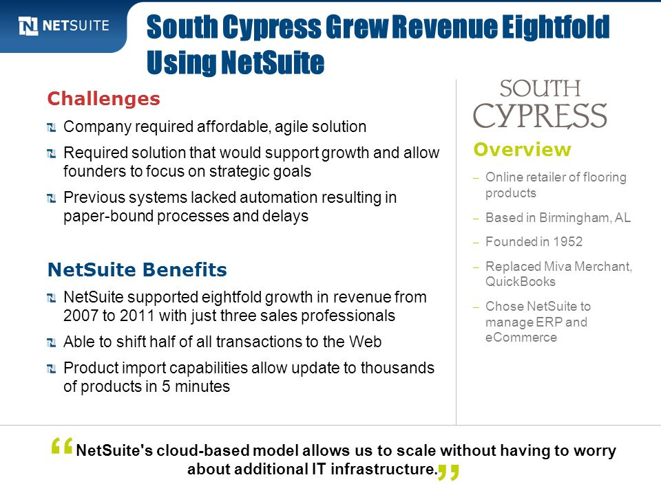 South Cypress Grew Revenue Eightfold Using NetSuite