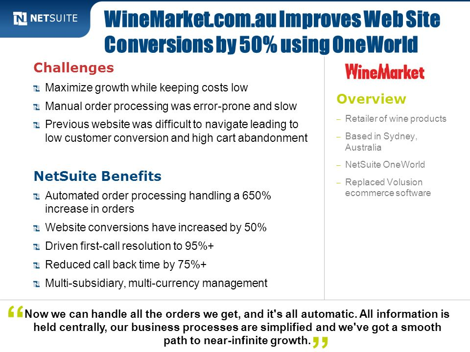 WineMarket.com.au Improves Web Site Conversions by 50% using OneWorld