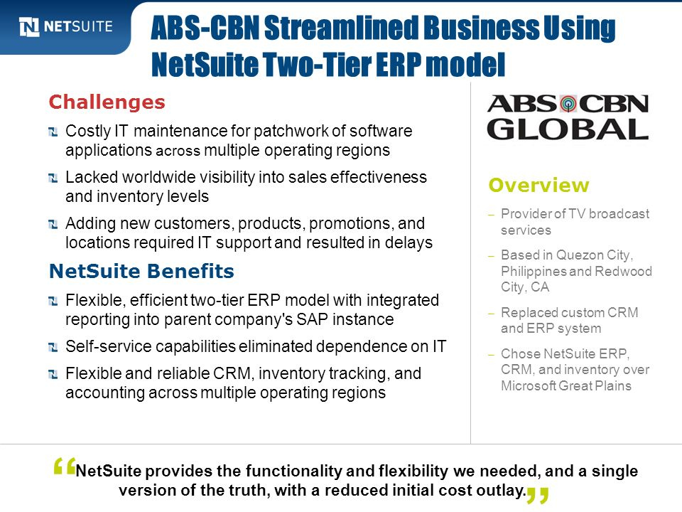 ABS-CBN Streamlined Business Using NetSuite Two-Tier ERP model
