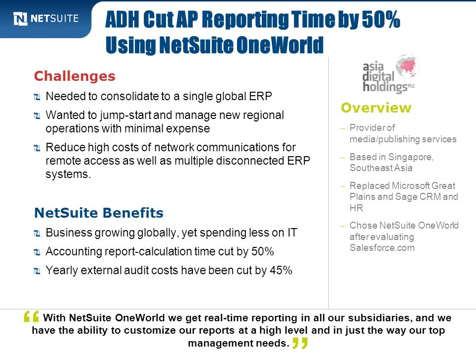 ADH Cut AP Reporting Time by 50% Using NetSuite OneWorld