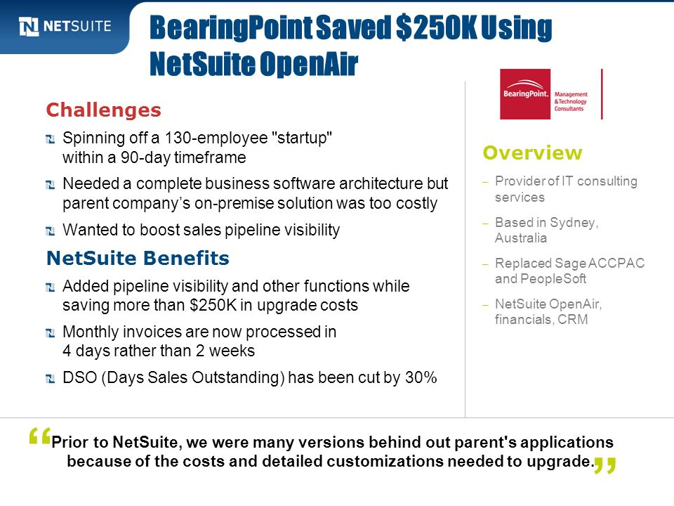 BearingPoint Saved $250K Using NetSuite OpenAir