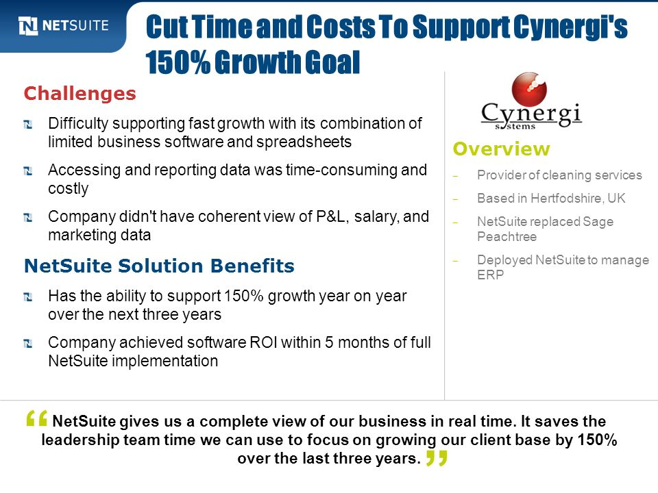 Cut Time and Costs To Support Cynergi s 150% Growth Goal