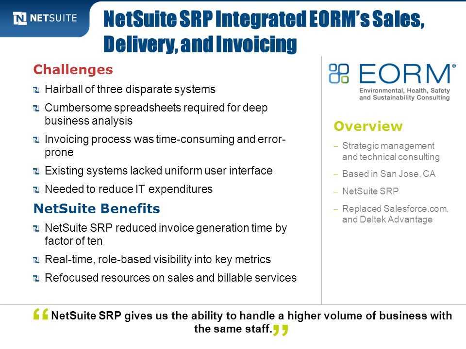 NetSuite SRP Integrated EORM's Sales, Delivery, and Invoicing