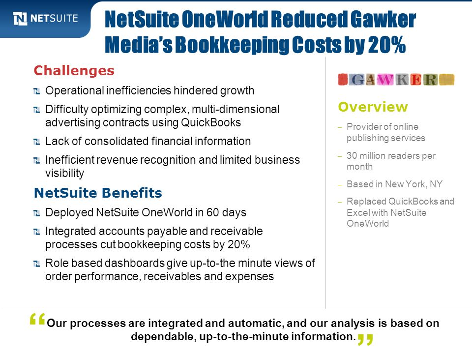 NetSuite OneWorld Reduced Gawker Media's Bookkeeping Costs by 20%