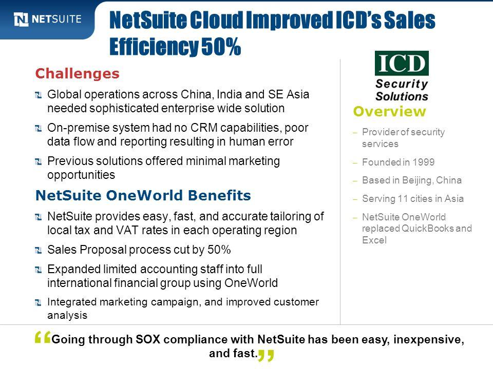 NetSuite Cloud Improved ICD's Sales Efficiency 50%