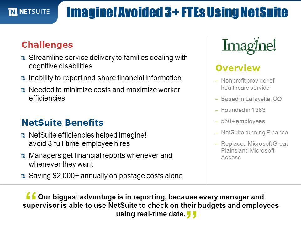 Imagine! Avoided 3+ FTEs Using NetSuite