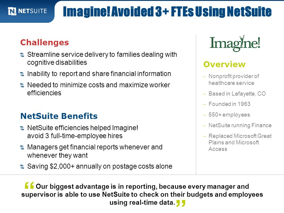 Imagine! Avoided 3+ FTEs Using NetSuite
