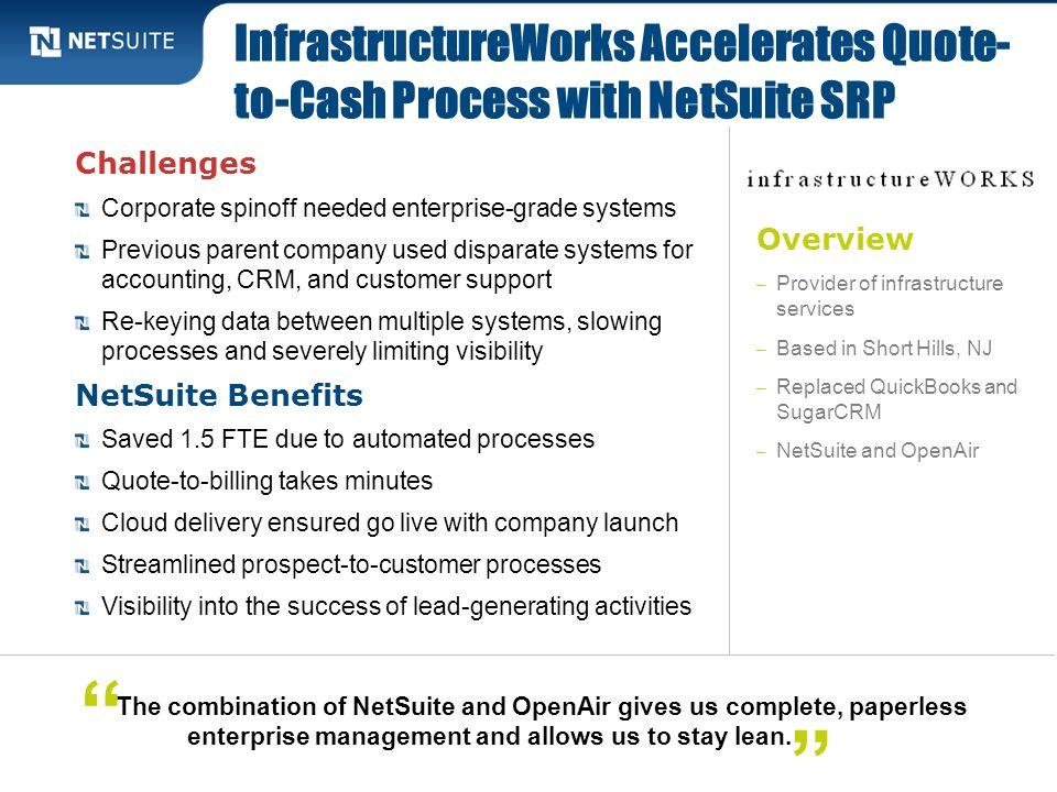 InfrastructureWorks Accelerates Quote-to-Cash Process with NetSuite SRP