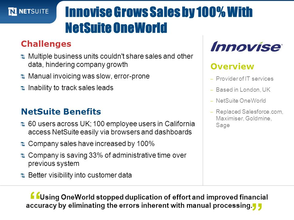 Innovise Grows Sales by 100% With NetSuite OneWorld
