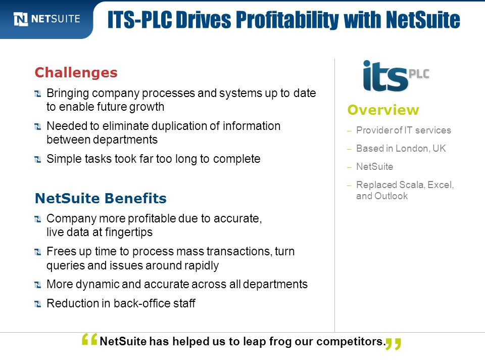 ITS-PLC Drives Profitability with NetSuite