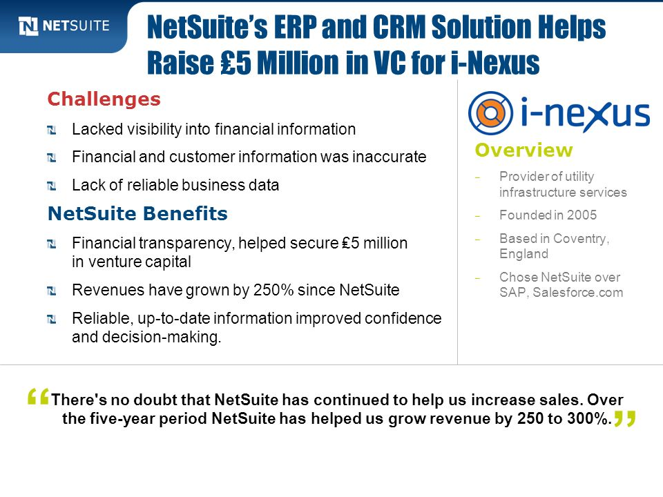 NetSuite's ERP and CRM Solution Helps Raise ₤5 Million in VC for i-Nexus