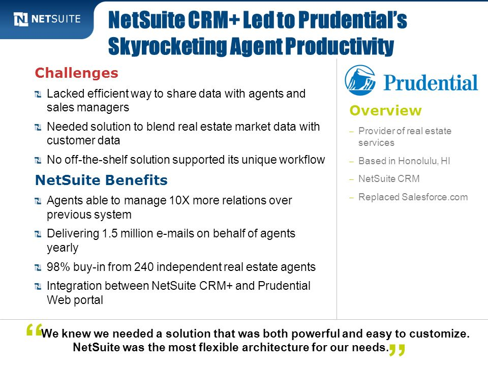 NetSuite CRM+ Led to Prudential's Skyrocketing Agent Productivity