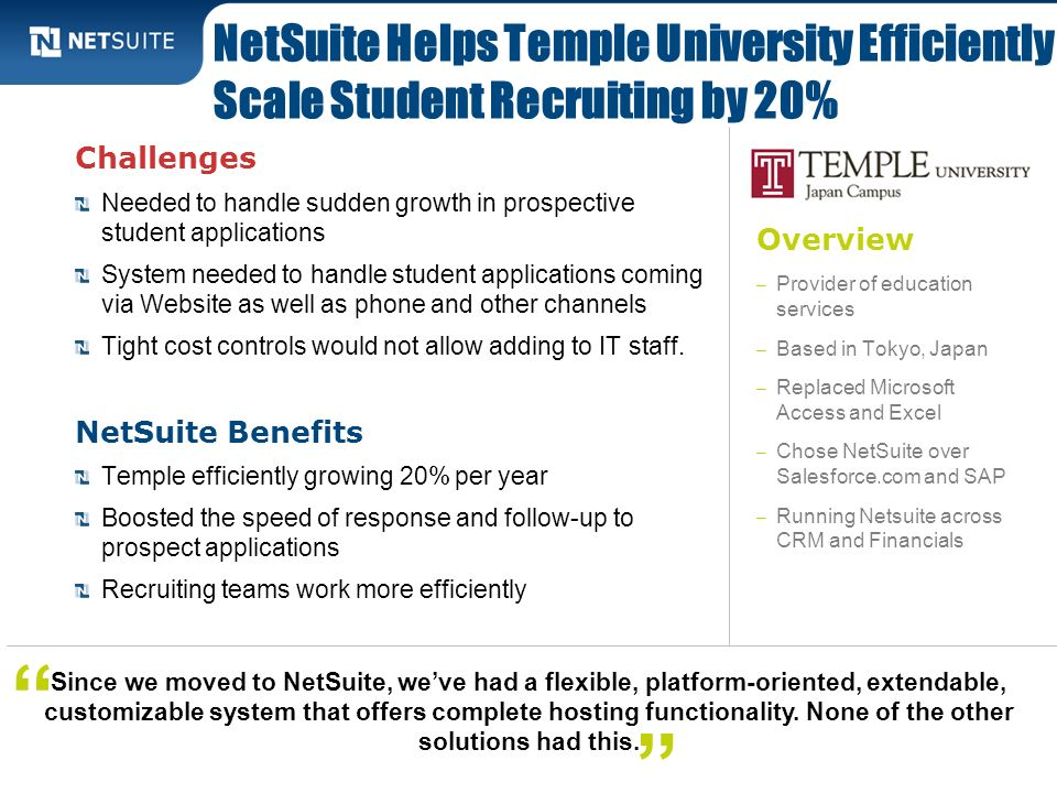 NetSuite Helps Temple University Efficiently Scale Student Recruiting by 20%