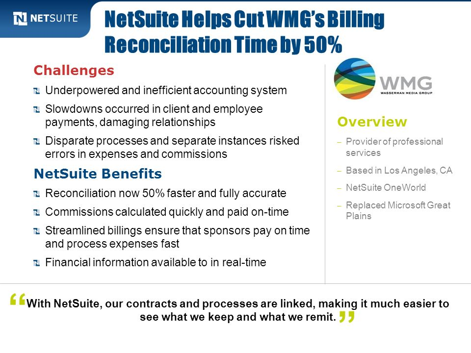 NetSuite Helps Cut WMG's Billing Reconciliation Time by 50%