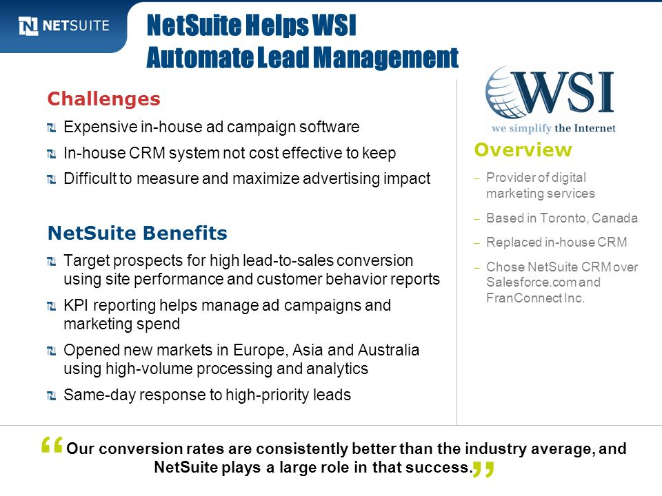 NetSuite Helps WSI Automate Lead Management
