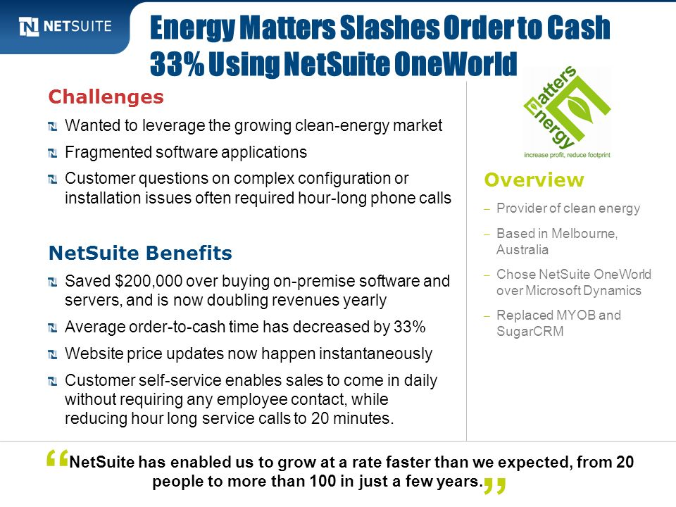Energy Matters Slashes Order to Cash 33% Using NetSuite OneWorld