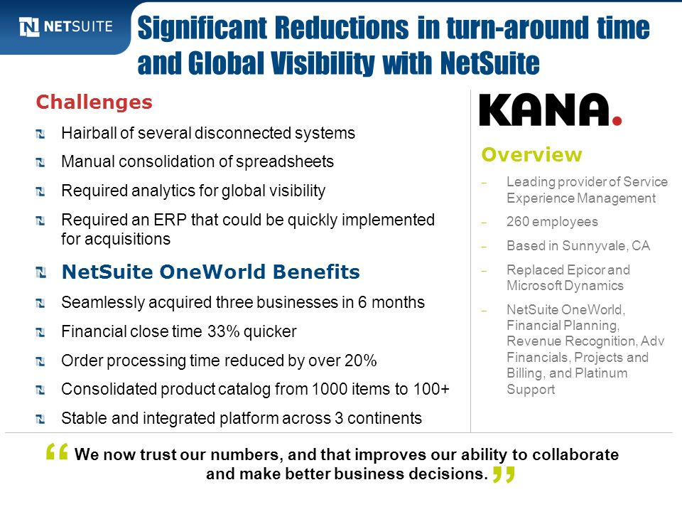Significant Reductions in turn-around time and Global Visibility with NetSuite
