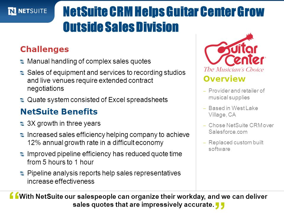 NetSuite CRM Helps Guitar Center Grow Outside Sales Division