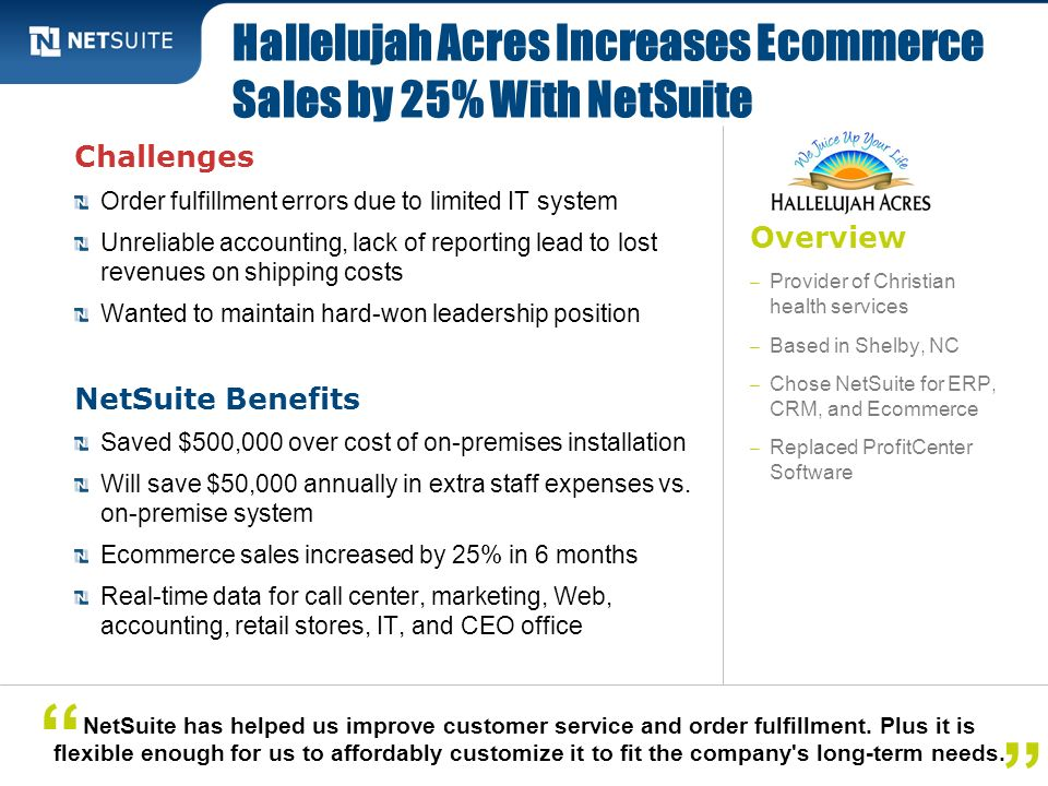 Hallelujah Acres Increases Ecommerce Sales by 25% With NetSuite
