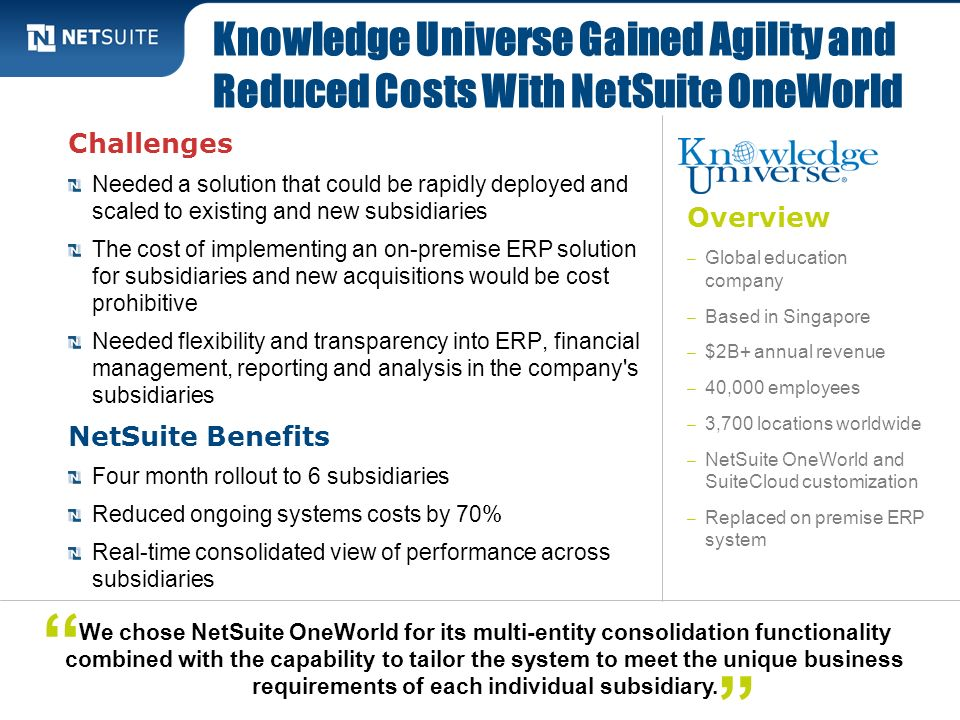 Knowledge Universe Gained Agility and Reduced Costs With NetSuite OneWorld