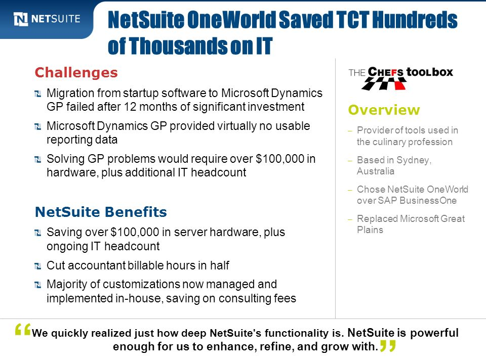 NetSuite OneWorld Saved TCT Hundreds of Thousands on IT