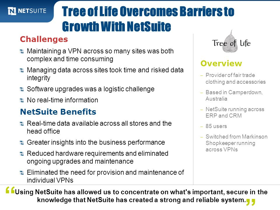 Tree of Life Overcomes Barriers to Growth With NetSuite