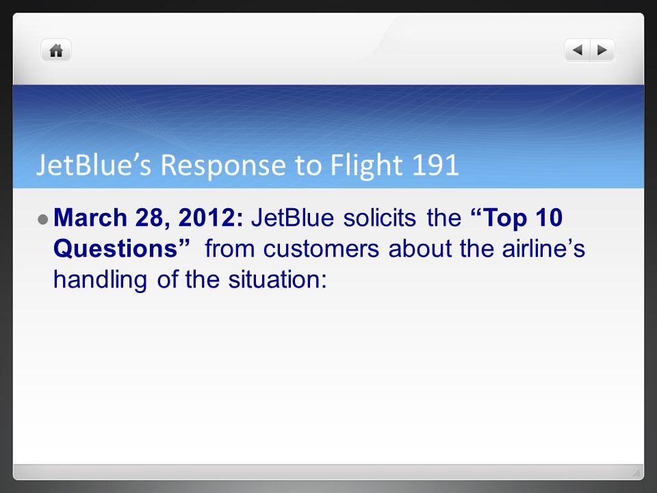 JetBlue's Response to Flight 191
