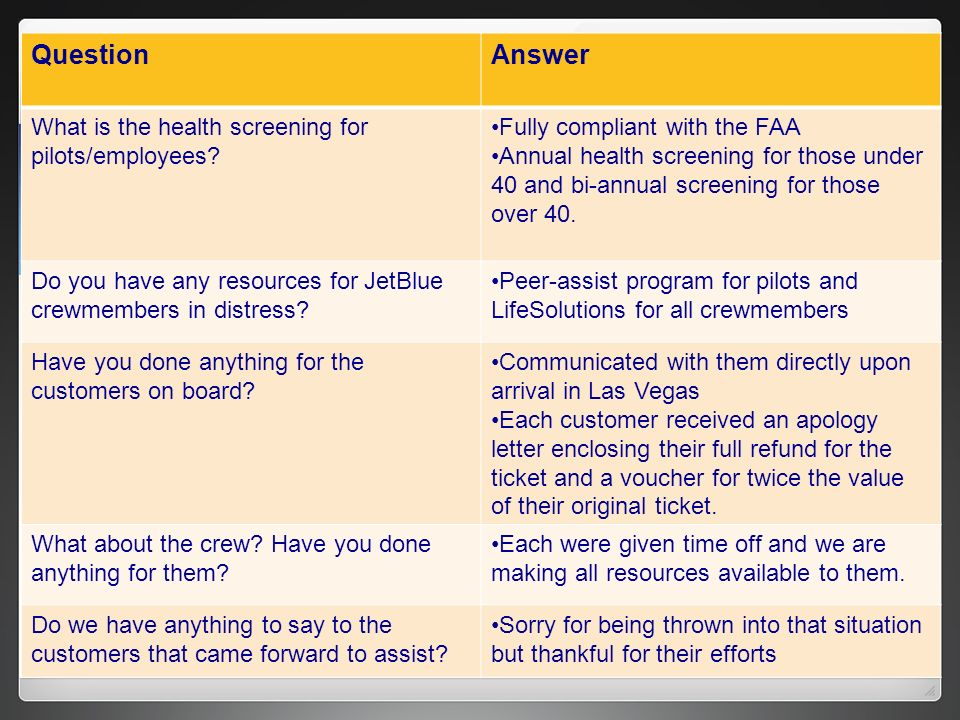 Question Answer What is the health screening for pilots/employees
