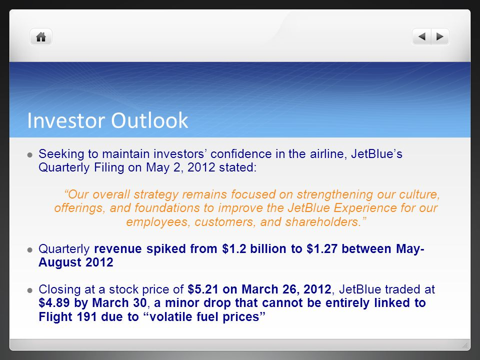 Investor Outlook Seeking to maintain investors' confidence in the airline, JetBlue's Quarterly Filing on May 2, 2012 stated: