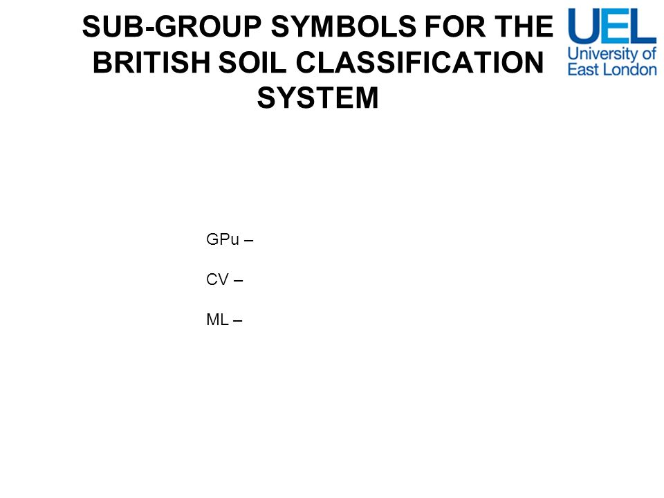 SUB-GROUP SYMBOLS FOR THE BRITISH SOIL CLASSIFICATION SYSTEM
