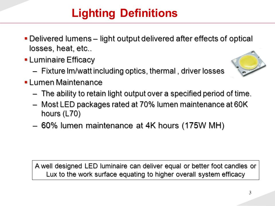 Lighting Definitions 60% lumen maintenance at 4K hours (175W MH)