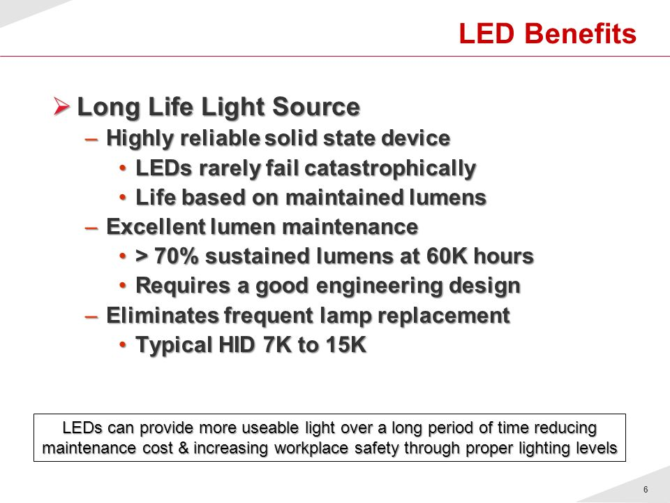 LED Benefits Long Life Light Source Highly reliable solid state device