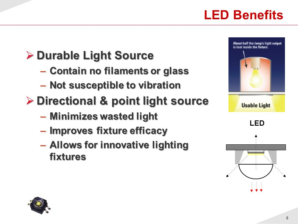 LED Benefits Durable Light Source Directional & point light source