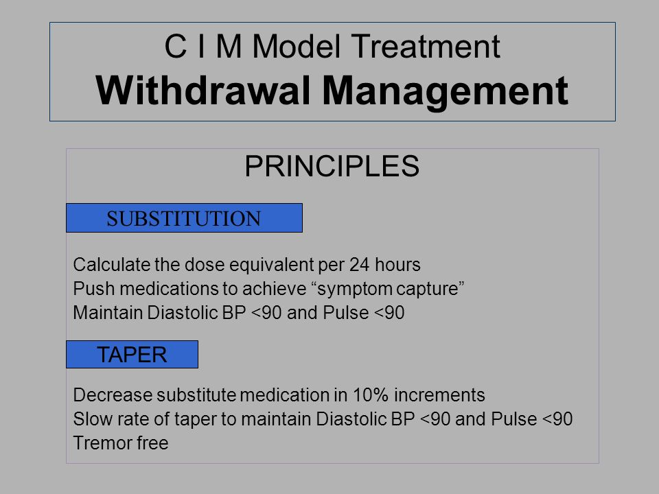 C I M Model Treatment Withdrawal Management