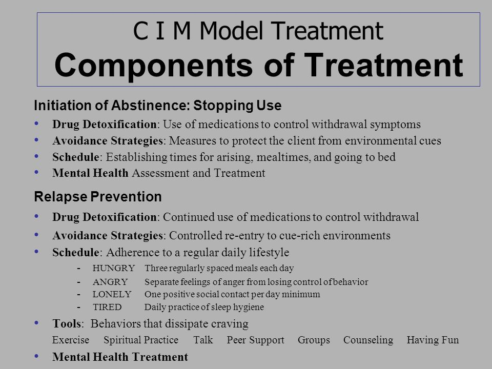C I M Model Treatment Components of Treatment