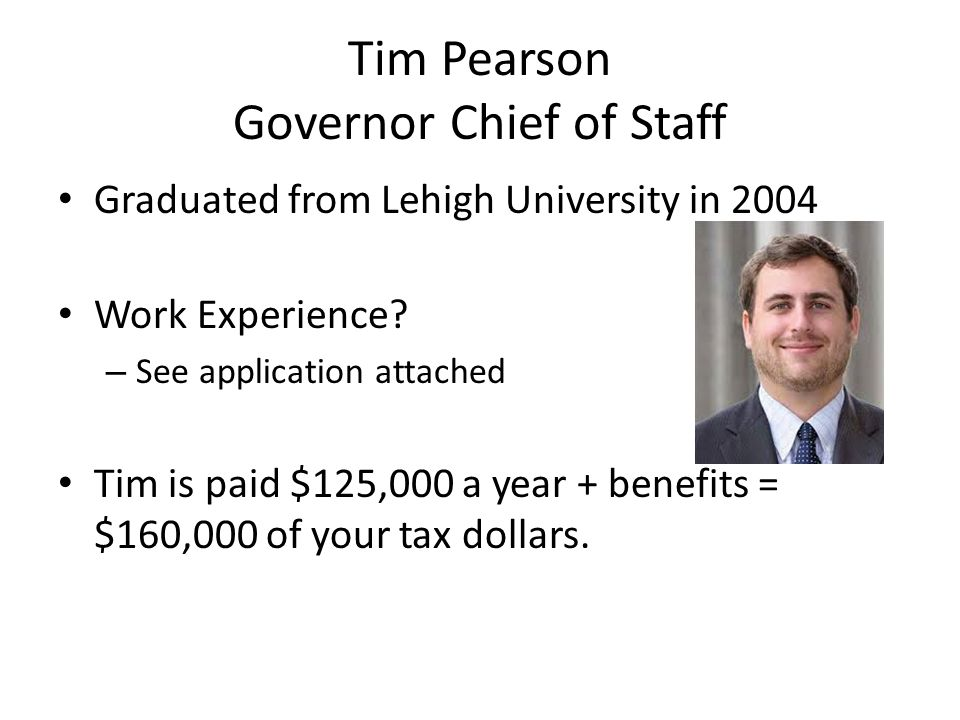 Tim Pearson Governor Chief of Staff