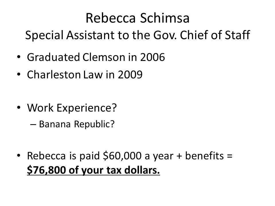 Rebecca Schimsa Special Assistant to the Gov. Chief of Staff