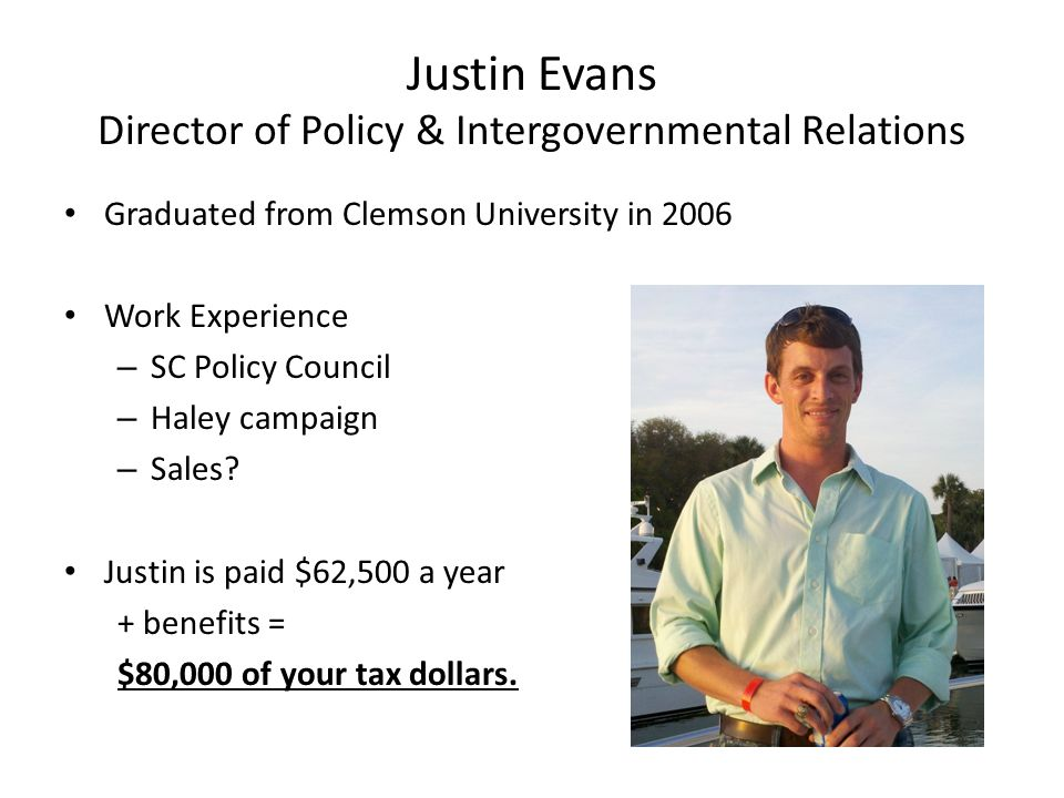 Justin Evans Director of Policy & Intergovernmental Relations