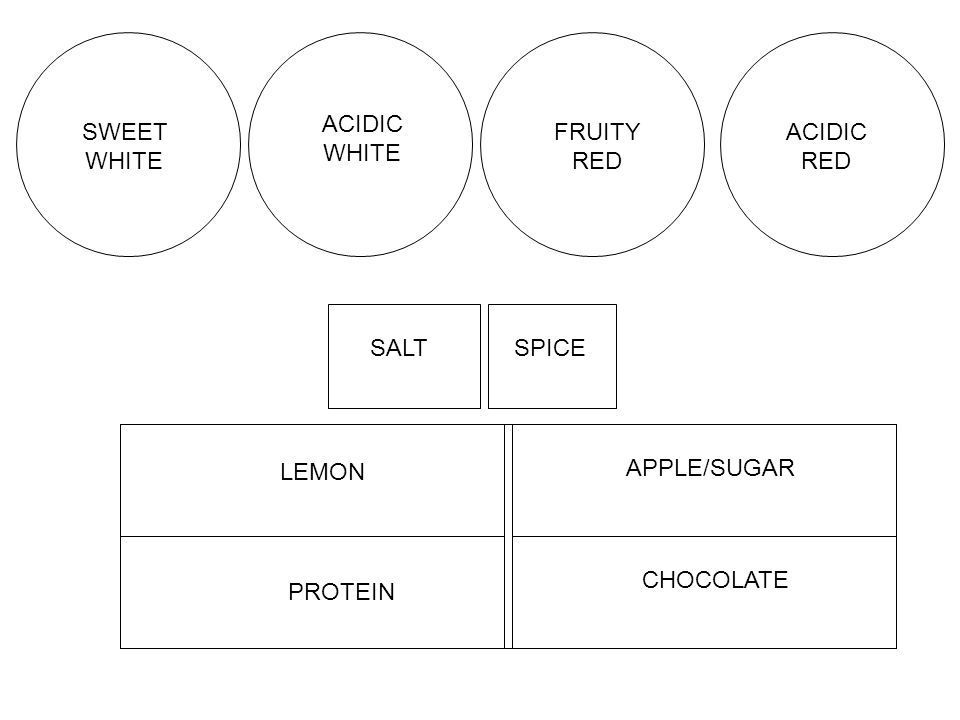 ACIDIC WHITE SWEET WHITE FRUITY RED ACIDIC RED SALT SPICE LEMON APPLE/SUGAR CHOCOLATE PROTEIN