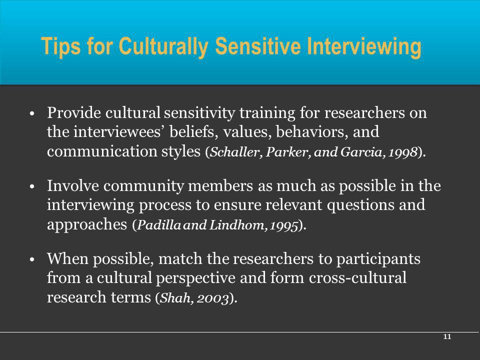 Tips for Culturally Sensitive Interviewing
