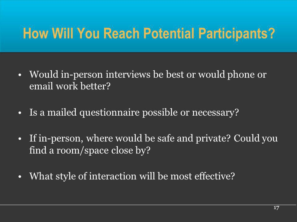How Will You Reach Potential Participants